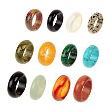 stone bands rings images Wholesale colors mix natural stone smooth multicolor agate fashion jpg