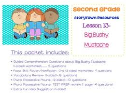 2nd grade storytown lesson 13 study pack big bushy mustache