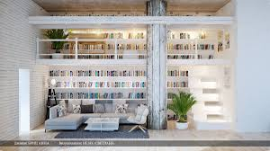 Interior Design Home Study Gray White Dual Level Home Library Interior Design Ideas