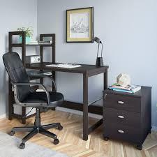 3 piece black espresso desk cabinet and office chair set