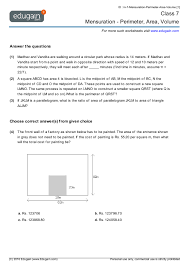 grade 7 math worksheets and problems mensuration perimeter