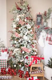 tree flocked treet and white ornaments farmhouse