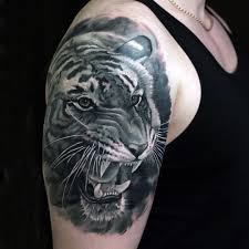 angry black and white tiger design