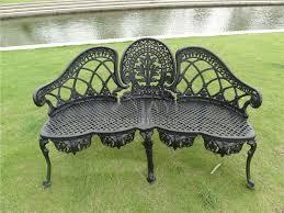 Black Metal Patio Chairs 3 Person Luxury Durable Cast Aluminum Park Chair Garden Bench