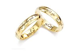 engraved wedding rings lord of the rings wedding rings in platinum yellow gold