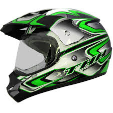 motocross atv thh tx 13 3 black green dual sport helmet mx motocross atv