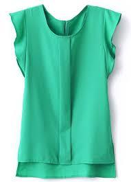 green chiffon blouse green puff sleeve split chiffon blouse emmacloth fast