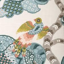 Bird Print Curtain Fabric On Sale Coral And Blue Fabric Modern Light Blue Bird