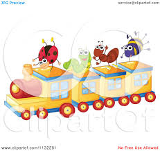 cartoon of bugs playing on a train royalty free vector clipart