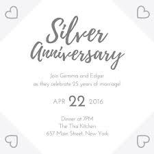 25 wedding anniversary silver 25th wedding anniversary invitation templates by canva