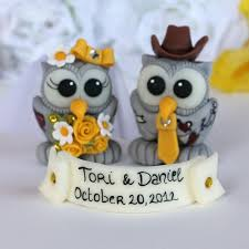 unique owl love bird country western wedding cake toppers
