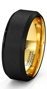 most comfortable wedding band mens wedding band black gold tungsten ring brushed surface center