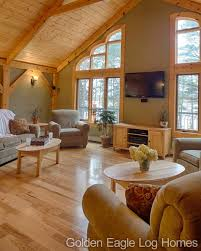 decorative timber frame accents in the living room of our north