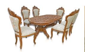 Teakwood Dining Table Teak Wood 6 Seater Dining Table Chairs With Work