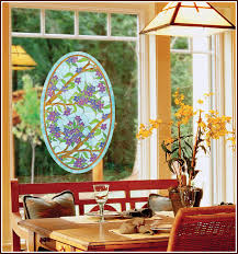 Decorative Window Decals For Home Biscayne Stained Glass Centerpiece Oval Decorative Window Film
