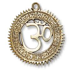 om wall brass sculpture with gayatri mantra amazon co uk kitchen