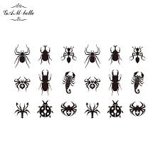 small map tattoos stickers black ant ladybird spider scorpion