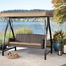 patio swing with canopy costco 6 person wooden chair bench green