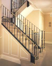 decorations contemporary stair railing with black fence and craem painting wall also brown flooring idea