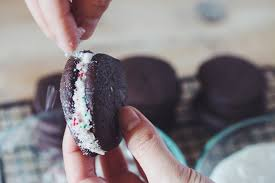chocolate candy cane sandwich cookies for food