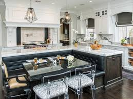 black white kitchen island with booth seating decorate galley