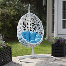island bay cocos resin wicker hanging egg chair with cushion and