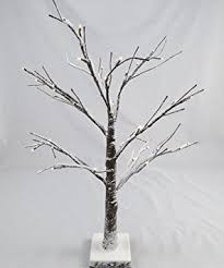 artificial led snowy twig tree 60cm brown white