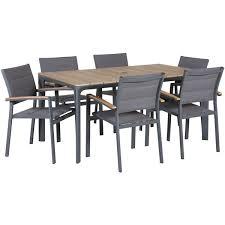 carbon oak 7 piece patio dining set z 5010t z 5020ac 6 condor