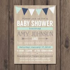 baby boy shower invites rustic baby shower invitation baby boy shower invitation mint