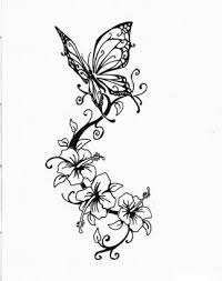 butterfly and hibiscus flower pic from itattooz