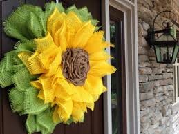 burlap sunflower wreath sunflower wreath with ribbon center tutorial trendy tree