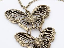 butterfly long chain necklace images Vintage style triple butterflies pendant long chain necklace jpg