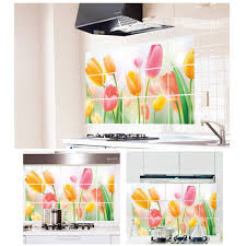 romantic tulips wall decal sticker for kitchen cabinet art decor