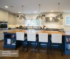 Kitchen Islands With Cabinets Dark Wood Cabinets With A Blue Kitchen Island Omega