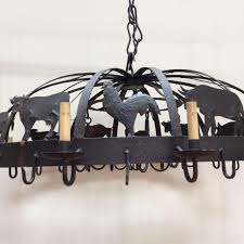 themed chandelier large iron farm animal themed pot rack chandelier chairish
