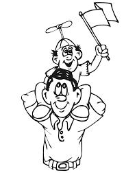 family coloring son dad u0027s shoulders