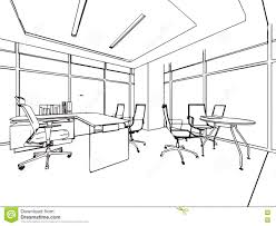 bureau dessin perspective intérieure de dessin de croquis d ensemble d un bureau
