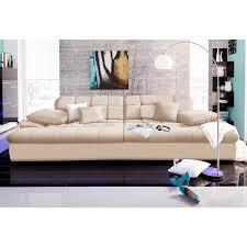 grand canapé design assise profonde en microfibre crème autres