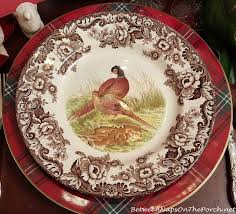 thanksgiving table with spode woodland a whimsical turkey