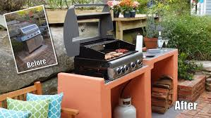 How To Build Outdoor Kitchen by Bbq Area Makeover How To Build A Block Bbq Youtube