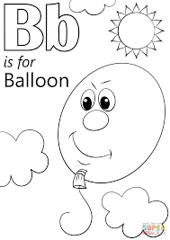 letter b is for balloon coloring page free printable coloring pages