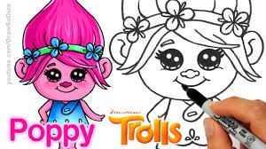 draw poppy trolls movie step step cute easy
