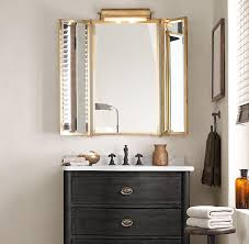 Tri Fold Mirrors Bathroom Tri Fold Lit Wall Mirror Restoration Hardware Furniture