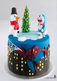 fabulous spider man doraemon christmas cake between the pages