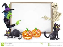 Halloween Cat Skeleton Halloween Sign With Skeleton And Witch Stock Photo Image 34265930
