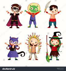 halloween kids background illustration kids halloween costumes figures children stock vector