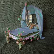 fairy bed miniature fairy bed with roses fairy miniatures and fairy furniture