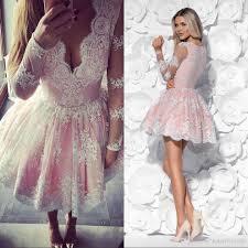 pink lace short prom dresses long sleeves v neck appliques sheer
