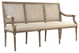odetta country french caned wood linen bench traditional
