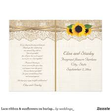burlap wedding programs lace ribbon sunflowers on burlap wedding program white